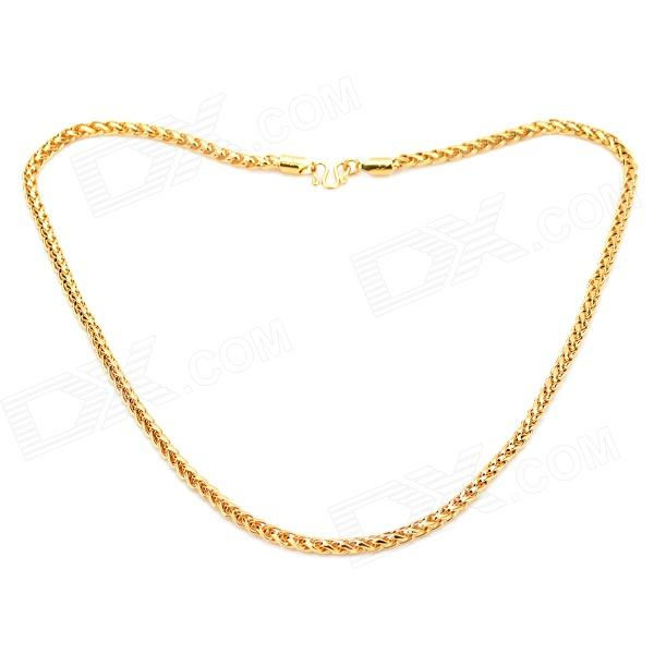 KCCHSTAR High-Quality Fine Copper Electroplating 24K Real Gold Necklace - Golden [haotian vegetarian] chinese ming and qing furniture antique copper accessories copper hinge door hinge htf 109