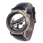 JARAGAR Hollow Roman Numerals Genuine Leather Mechanical Men's Wrist Watch - Black + Golden