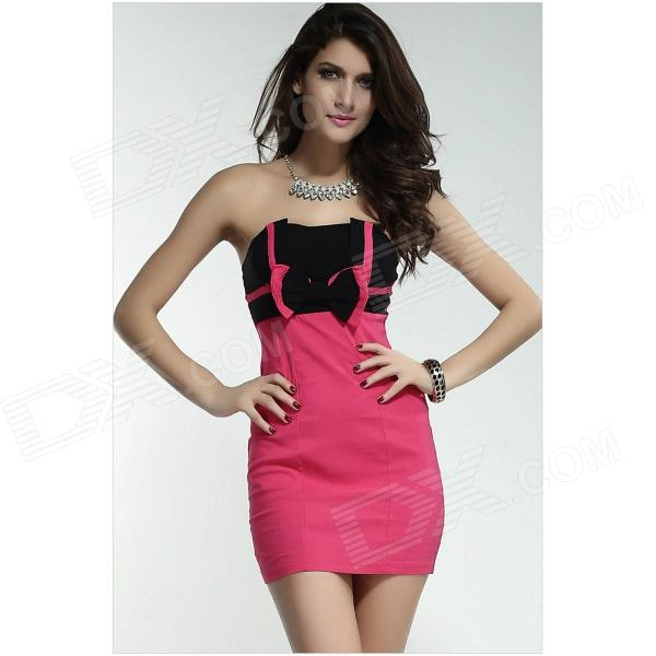 2909 Marvelous Bow Strapless Mini Dress - Deep Pink + Black (Size-M)