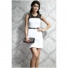 2911 Minimalist Lacy Neck Short Dress - White + Black (Size-M)