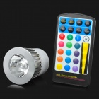 YUIN06 MR16 5W 250lm 1-LED RGB Light Spotlight w/ Remote Control - White + Silver (DC 12V)
