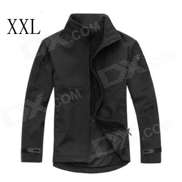 ESDY-0104 Fleece Windproof Waterproof Soft Shell Commander Jacket - Black (XXL) soft shell 001 apex jacket