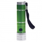 Mini 80lm 6000K 8-LED White Light Flashlight w/ Strap - Green + Silver (3 x AAA)