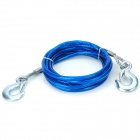 5Ton Durable Steel Wire Tow Rope w/ Double Hooks - Blue + Silver (4m)