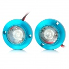 8508-B 2W 15lm Car Decorative Blue Light Emergency Strobe Flash Light - Blue + White + Red (2 PCS)