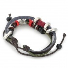 UBE UTY 7001 Retro Top-Layer Cow Leather + Zinc Alloy Bracelet - Red + Brown