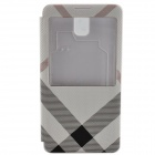 Irregular Texture PU Leather Case cover w/ Visual Window for Samsung Galaxy Note 3 - Black + White