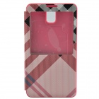 Irregular Texture PU Leather Case cover w/ Visual Window for Samsung Galaxy Note 3 - Pink + Black
