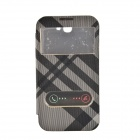 Irregular Texture Back Case Cover w/ Visual Window / Slide to Unlock for Samsung Galaxy Note 2 -Grey