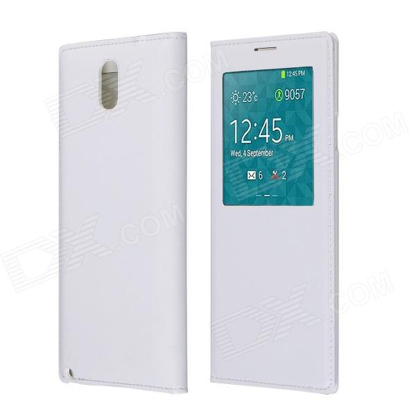 Protective PU Leather Case w/ Visual Window / Auto-Sleep for Samsung Galaxy Note 3 N9000 - White