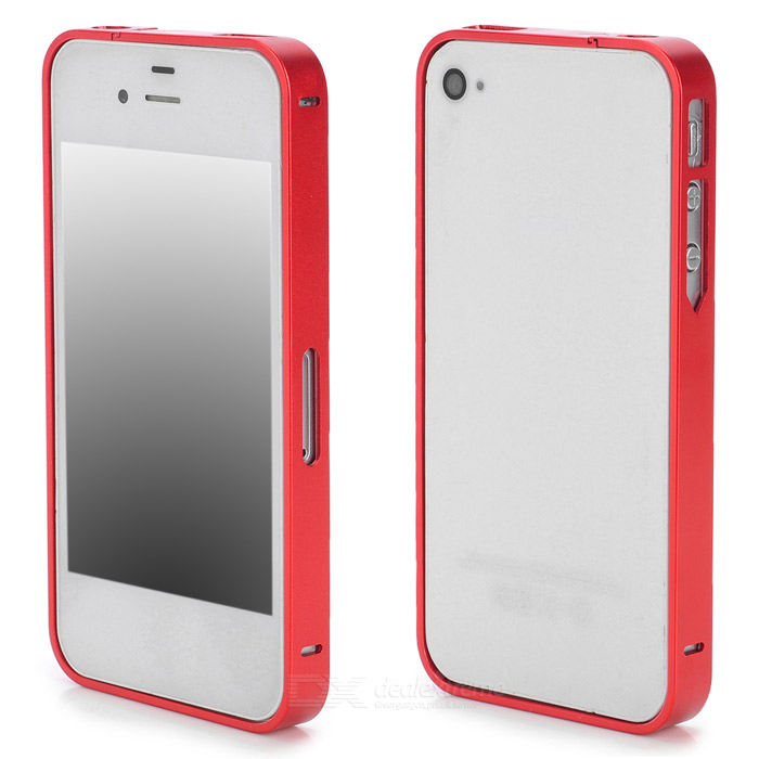 S-What Ultrathin Protective Aluminum Alloy Bumper Frame for Iphone 4 / 4s - Red