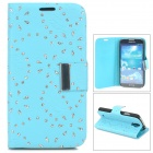 Leaves Style Protective PU Leather Case for Samsung Galaxy S4 i9500 - Blue