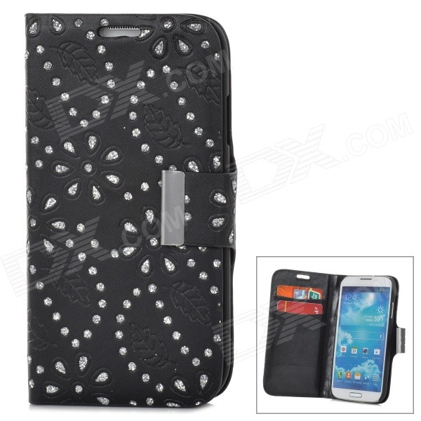 Leaves Pattern Protective PU Leather Case for Samsung Galaxy S4 i9500 - Black cm001 3d skeleton pattern protective plastic back case for samsung galaxy s4