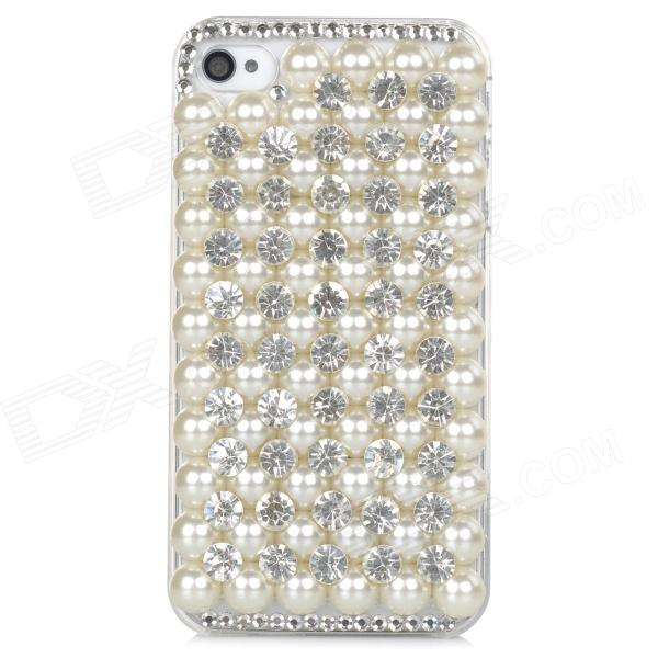 Protective Pearl Rhinestone Case for Iphone 4 / 4s - White protective pearl