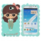 Cute Cartoon Girl Style Protective Silicone Case for Samsung Galaxy Note 2 N7100 / N7102 - Green