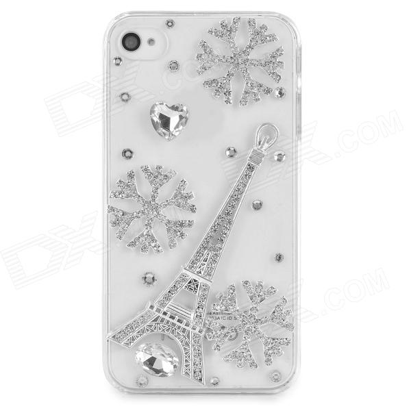 Rhinestone Snowflake & Eiffel Tower Style Protective Plastic Case for Iphone 4 / 4s - Transparent eiffel tower style protective plastic back case for iphone 4 4s black light green