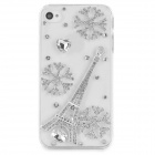 Rhinestone Snowflake & Eiffel Tower Style Protective Plastic Case for Iphone 4 / 4s - Transparent