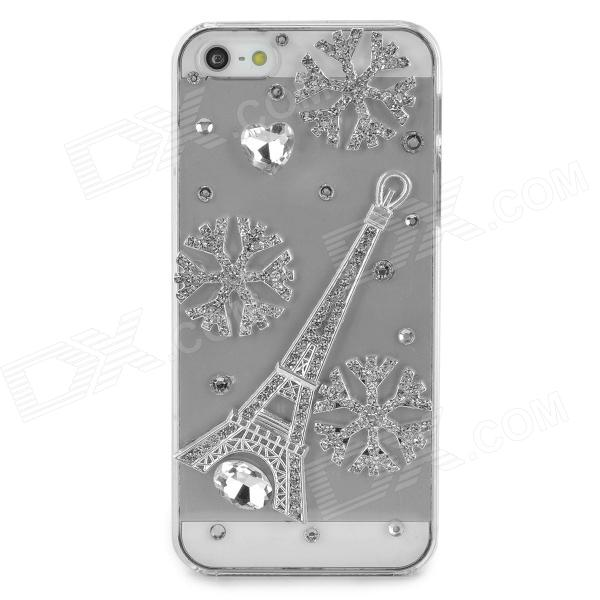 Rhinestone Snowflake & Eiffel Tower Style Protective Plastic Case for Iphone 5 / 5s - Transparent benks magic kr pro 0 15mm 3d curved tempered glass screen protector for iphone 6s plus 6 plus full cover white