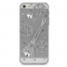 Rhinestone Snowflake & Eiffel Tower Style Protective Plastic Case for Iphone 5 / 5s - Transparent