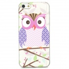 Relief Cute Owl Style Protective Plastic Back Case for Iphone 5 - White + Pink