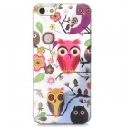 Relief Owl Style Protective Plastic Back Case for Iphone 5 - White + Deep Pink + Yellow