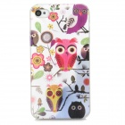 Relief Owl Style Protective Plastic Back Case for Iphone 4 / 4s - White + Deep Pink + Yellow