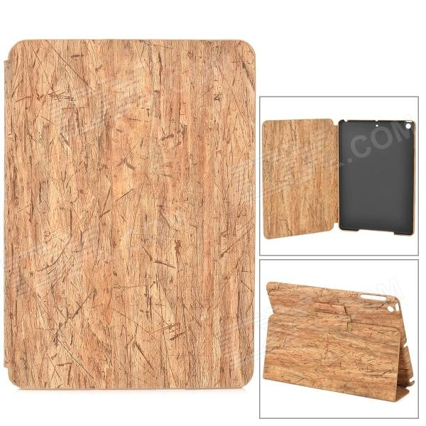 Wooden Texture Pattern PC + PU Case w/ Stand for Ipad AIR - White + Light Yellow lofter happy zoo pattern protective pu pc case w stand for ipad air white brown multicolor