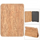 Wooden Texture Pattern PC + PU Case w/ Stand for iPad Air - White + Light Yellow