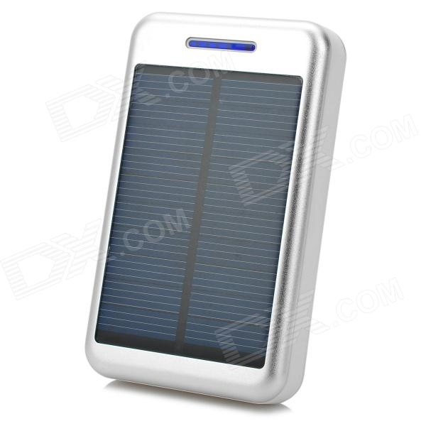 S-What Universal 5V 13800mAh Li-ion Polymer Battery Solar Power Charger - Silver + White s what universal portable 5v 2000mah li ion battery power bank white