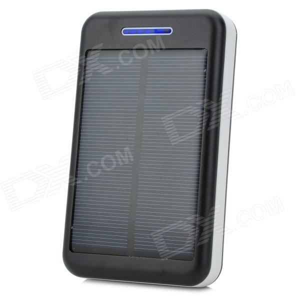 S-What Universal 5V 13800mAh Li-ion Polymer Battery Solar Power Charger - Black + White s what universal portable 5v 2000mah li ion battery power bank white