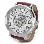 Zinc Alloy Case PU Leather Band Mechanical Self-Winding Analog Wrist Watch for Men - Silver + Brown