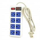 CP-993A Convenient 8 Power Output Ports UK Plug Socket - White + Blue