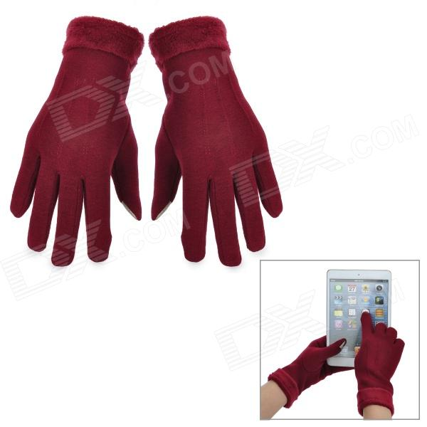 Outdoor Stylish Touch Screen Warm Gloves - Wine Red (Pair)