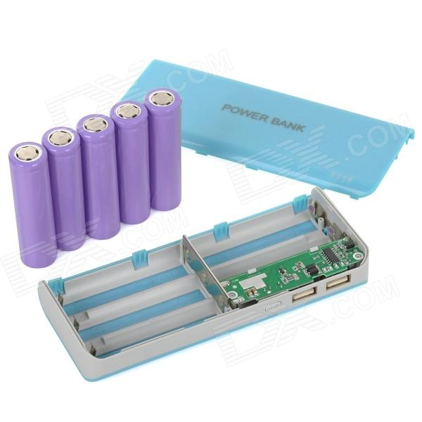 DIY Rechargeable 10000mAh 18650 Mobile Power Bank Kit w / Dual USB - Blue