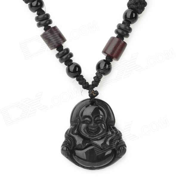 Nylon + Rosewood Chain Obsidian Maitreya Pendant Necklace - Black my fabulous pink fairy activity and sticker book