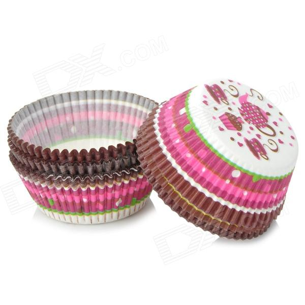Grease-Proof Paper Cup Cake Tray for Cupcake - White + Black + Multi-Colored