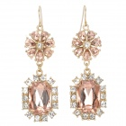 ER-5215 Water Drop Style Zinc Alloy + Crystals Dangle Earrings for Women - Golden (Pair)