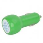 Car Cigarette Powered Charging Adapter Charger w/ Dual USB Output - Green
