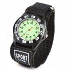 Sports Zinc Alloy Case Nylon Velcro Band Quartz Analog Wrist Watch for Kids - Black + Multicolored
