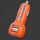 Car Cigarette Powered Charging Adapter Charger w/ Dual USB Output - Orange