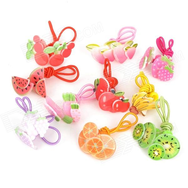 Cartoon Fruit Style Hair Rope for 13~24 Months Children - Red + Pink + Multicolored (10 Pairs) 100pcs elastic hair bands rope scrunchie head colorful rope spiral shape hair ties gum hair styling braiding tools accessories