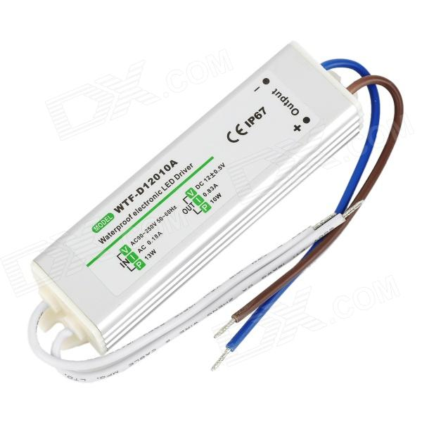 WTF-D12010A 10W Waterproof Electronic LED Power Supply - White + Silver (AC 90~250V) wtf d12050a 50w waterproof led strip power supply 12v