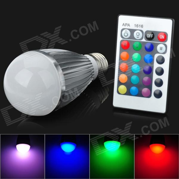 CJ CJ-RGB-QPD-007 E27 7W 180lm 1-LED RGB Light Bulb w/ Remote Control - White + Silver (AC 100~240V) jr led e27 10w 500lm led rgb light bulb w remote control white silver ac 85 265v