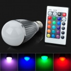 CJ CJ-RGB-QPD-007 E27 7W 180lm 1-LED RGB Light Bulb w/ Remote Control - White + Silver (AC 100~240V)