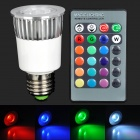 CJ-RGB-004 5W 230lm 1-LED RGB Light w/ Remote Controller - Silver + White (100~240V)