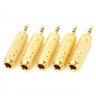 Universal 3.5mm Jack Male to 6.5mm Jack Female Adapter for Microphone - Golden (5 PCS)
