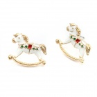 Fashionable Merry-go-round Pattern Earrings - White + Golden