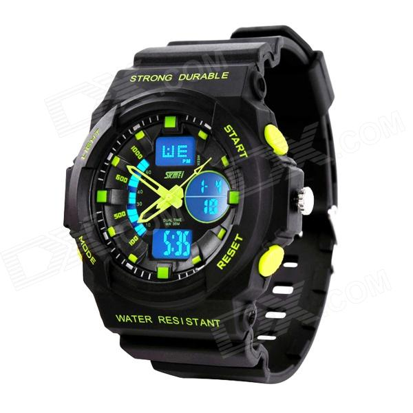 SKMEI 0955 30m Vanntett Analog Digital Dual Tid menn Sports Watch - Black + Grønn