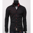 Fashionable Men's Slim Fit Shirt - Black (Size-XXL)