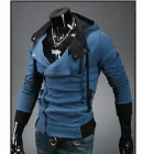 Stylish Slim Fit Inclined Zipper Cardigan for Men - Blue (Size-XXL)